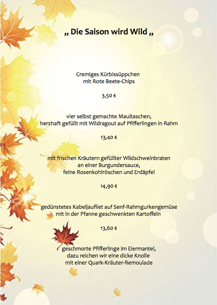 Herbstkarte 2018 Cafe am Wockersee