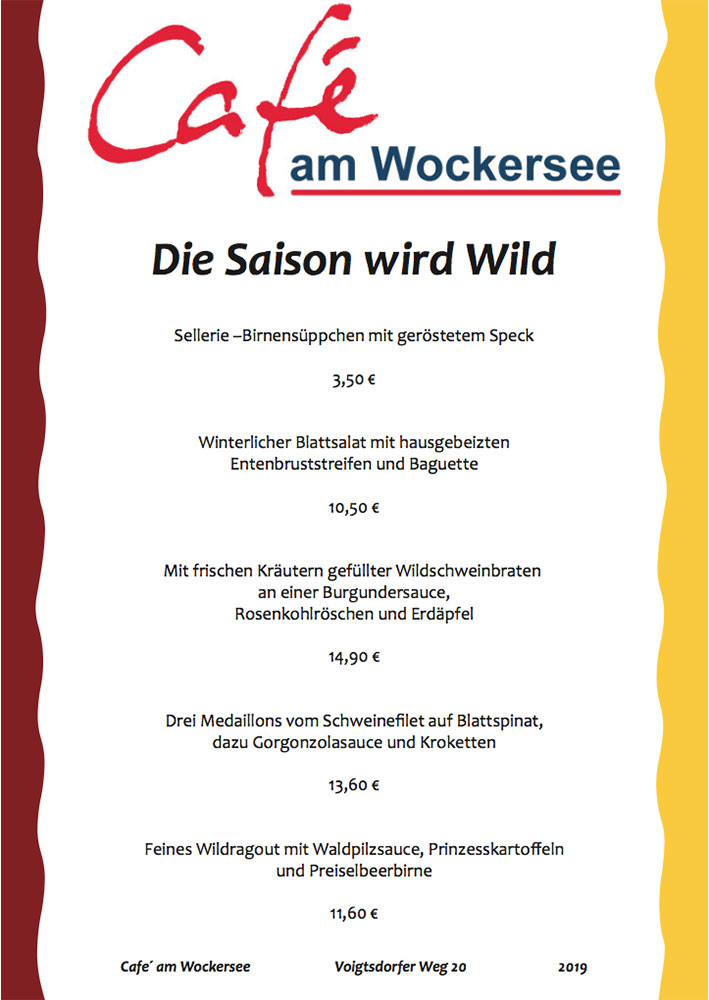 Wildkarte Cafe am Wockersee